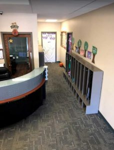 Photograph of the front desk at our toddler child care center
